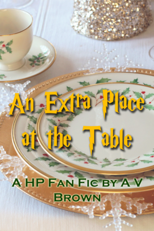 """Picture of a table set for Christmas dinner, with the word """"An Extra Place at the Table"""""""