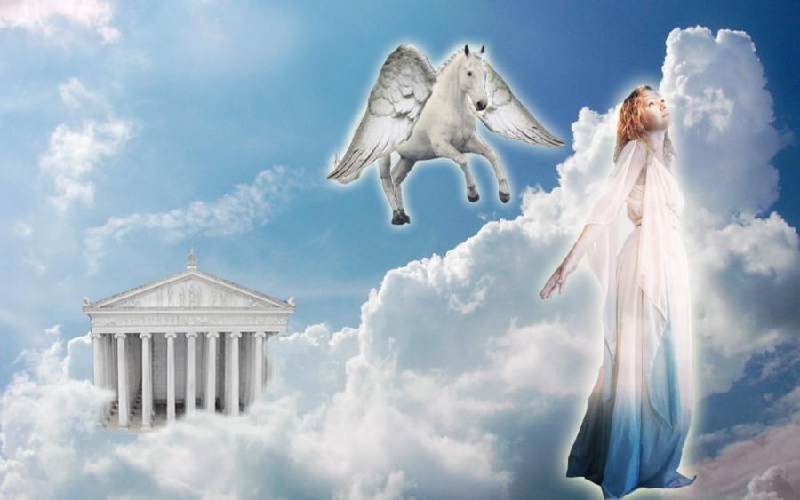Greek goddess and winged horse