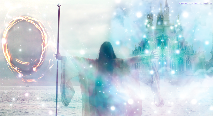 Sorceress holding a staff and standing in front of a castle with a magical portal