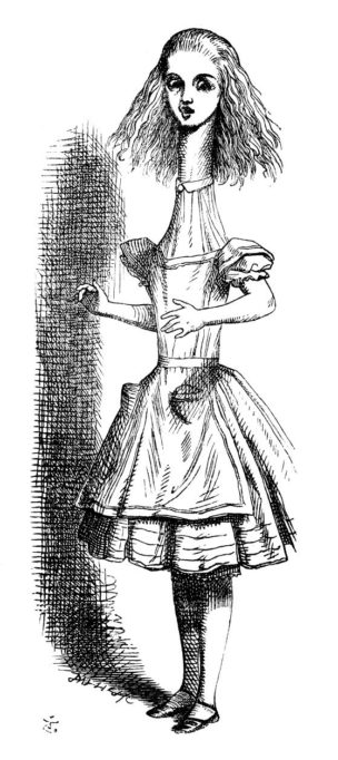 Illustration of Alice with a long neck, by John Tenniel