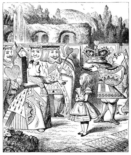 The Queen of Hearts shouting at Alice