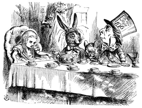 Alice, the March Hare and Hatter sitting at the table