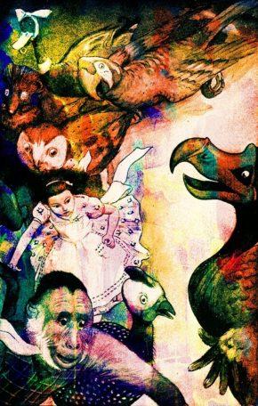 Alice in Wonderland creatures illustration.