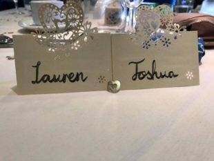 Wedding place cards with hand lettering