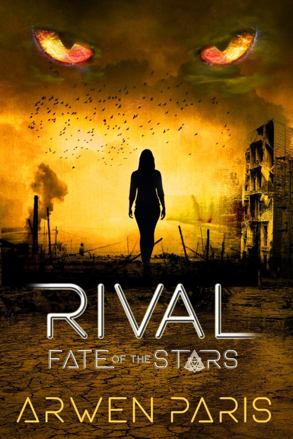 Yellow and orange silhouette cover for Rival by Arwen Paris