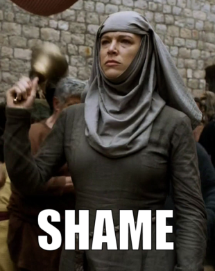 Septa Unella from Game of Thrones ringing a bell and saying 'Shame' as she accompanies Cersei Lannister on her walk of attonement.