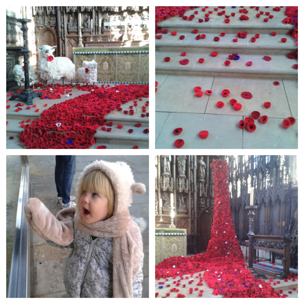 A collage of images from Remembrance Day memorial display with hand made poppies in English church