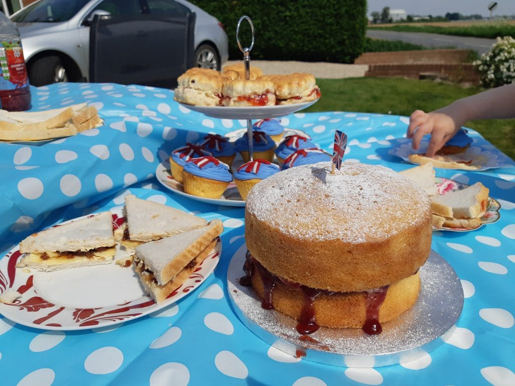 Victoria sponge, scones and cupcakes for a VE Day celebration tea party