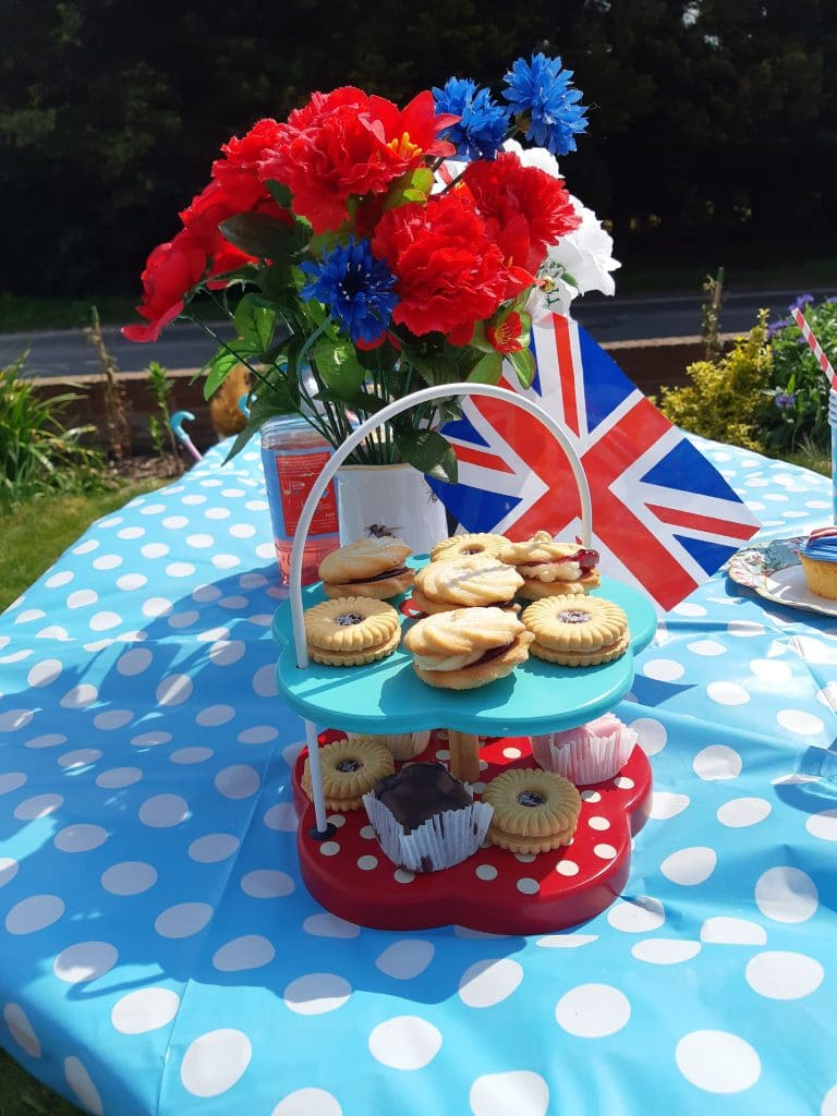 Biscuits and cakes for a VE Day garden tea party