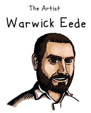 A cartoon drawing of artist Warwick Eede