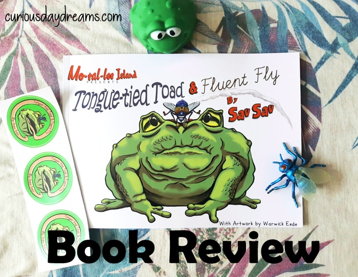 Tongue-Tied Toad & Fluent Fly picture book with stickers, toad and fly toys.