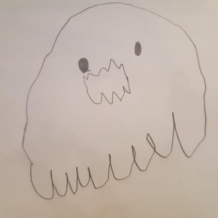 child's drawing of a ghost