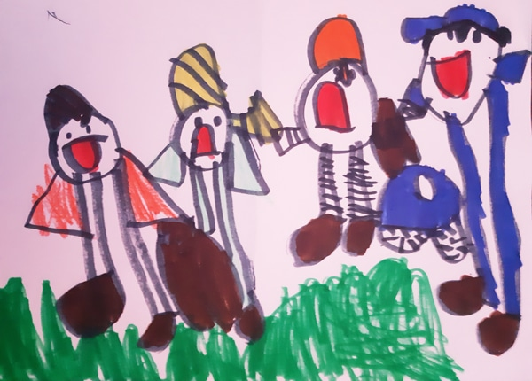 child's drawing of some burglars with a bag of money being arrested by the police