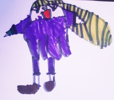 Child's drawing of herself, a blonde haired girl in a purple dress smiling