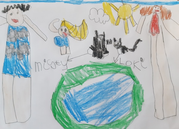 Child's drawing of herself and her two black and white cats with her mum and dad in the garden by the paddling pool