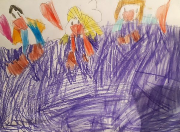 child's drawing of herself watching a dvd under a purple blanket with her mum and dad and love hearts above them