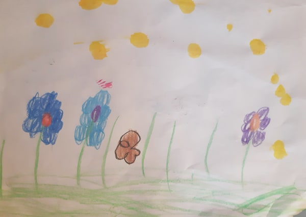 child's drawing of different coloured flowers in a grass field