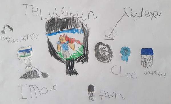 child's drawing of different types of technology, including a TV, iMac, phone and clock.