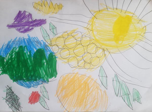 child's drawing of the universe, including a sun, earth, moon, some planets and stars