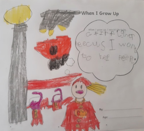 child's drawing of herself as a firefighter